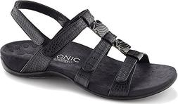 Vionic Womens Amber Open Toe Casual Slingback Sandals, Black