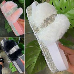 Rhinestone Fur Slides Fuzzy Furry Slippers Platform Flip Flo