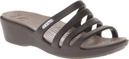 Crocs Womens Women's Rhonda Wedge Sandal,Espresso/Mushroom,1