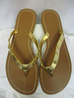 Tory Burch - Ricki Gold Leather Flip Flops    Size 10