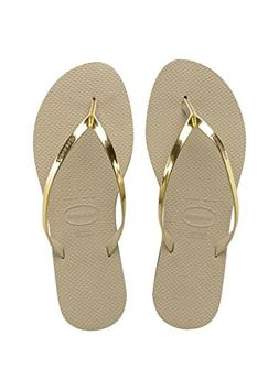 Havaianas Womens Sand Grey/Light Gold You Metallic Flip Flop