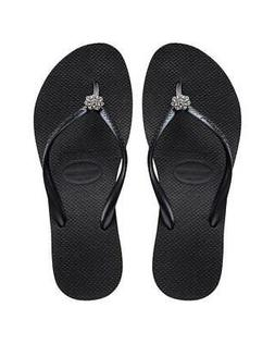 Havaianas Slim Crystal Poem Flip Flop Sandals - Black, Size