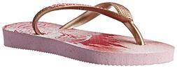 Havaianas Kids Slim Princess Thong Sandal , Pink/Rose Gold,