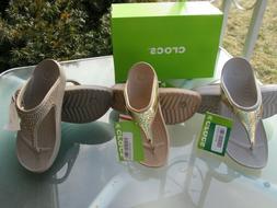 Crocs Sloane Embellished Flip Flop Wedge Sandals Pick Size &