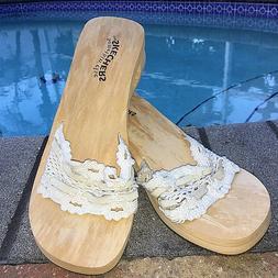 Skechers Something Else Woman's Platform Flip Flops White Cr