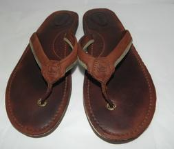 Sperry Top Sider  Leather Thong  Flip Flops  Brown Womens  9