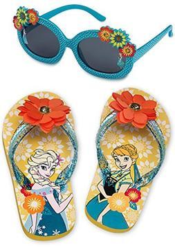 Disney Store Anna and Elsa Flip Flop Sandals and Sunglasses