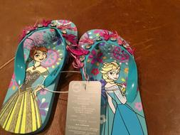 Disney Store Frozen Anna Elsa Flip Flops for Girls Jewels Ta