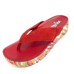 ALEGRIA Suede Adjustable Thong Sandal Astara RED slip on sho