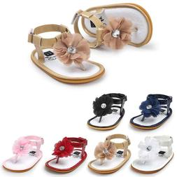 Summer Baby Girls Flip-flops Sandals Leather Bowknot Shoes A
