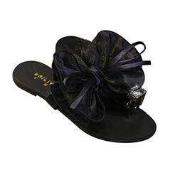 Nadition Summer Women Bow Tie Flower Flat Sandals Casual Fas