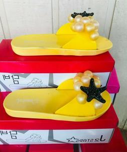 J2 Stars Summer Dambi Flip Flops - YELLOW For Girls SIZE 11