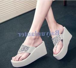 Summer Fashion Womens Flip Flops Sandals Wedge High Platform