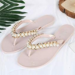 Summer Slides Shining Pearl Decoration Woman Flip Flops Beac