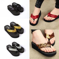 Summer Soft Platform Slippers Women Girls Wedge Sandals Sequ