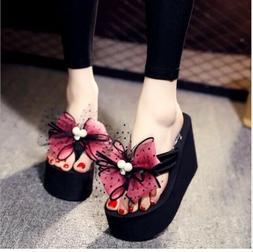 Summer Woman Platform slippers Flip Flops High Heel Shoes