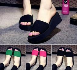 Summer Woman Shoes Platform Bath Slippers Wedge Beach Flip F