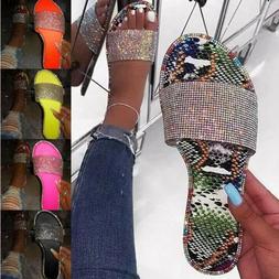 Summer Women Crystal Slippers Glitter Flat Soft Bling Flip F