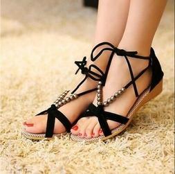 Summer Women's Gladiator Beaded Sandals Flip Flops Strappy O