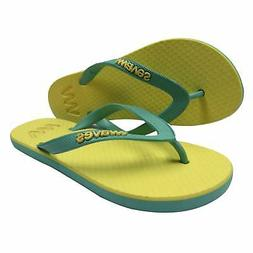 Waves Sun Yellow and Aqua Twofold Real Rubber Flip Flops for