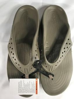 Crocs Swiftwater Deck Flip Flop Mens Size 11 Khaki Stucco Sa