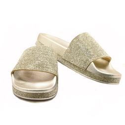 H2K Tiffany-High Silver Sparkle Fashion Slides Flip Flops Sa