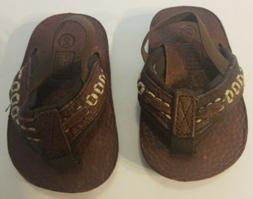 Toddler Boy Sandal SIZE 2 Brown Faux Leather Slip-On Beach F