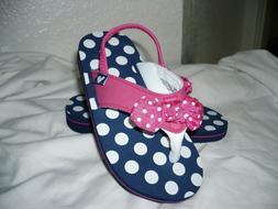 Wonder Nation Toddler Girls Flip Flops W Back Strap Blue Pin