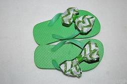 Toddler Girls GREEN FLIP FLOPS Ribbon Bow CHEVRON GLITTER Gr