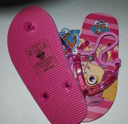 Toddler Girls Paw Patrol Pink & Red Flip Flops Elastic Heel