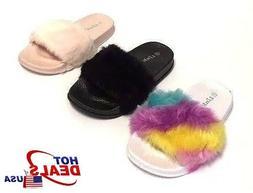 Toddler Kids Fur Slide Slippers Flats Flip Flops House Shoes