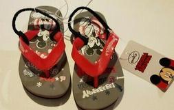 Toddler Disney Mickey Mouse Red Gray Black Flip Flops Elasti