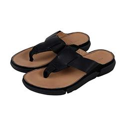 CLARKS Trisand Post Mens Black Leather Flip Flops Slip On Sa