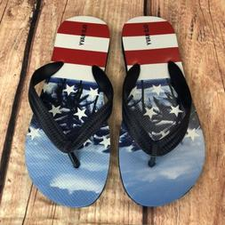 Old Navy Tropical American Flag Flip Flops Men Size 5/6 Wome