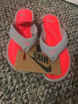 Nike ultra comfort thong, women flip flops, grey, punch pink