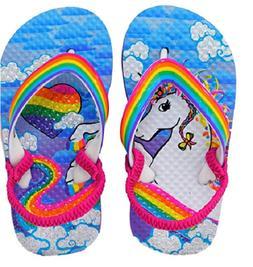 Unicorn Glitter Little Girl Toddler Flip Flops Size 5/6, Rai