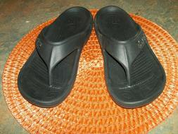 CROCS UNISEX BAYA FLIP SANDALS- ITEM # 11999- BLACK- MEN'S 8