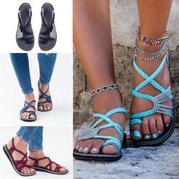 US Hot Bohemian Flat Flip Flops Sandals Women Bandages Casua