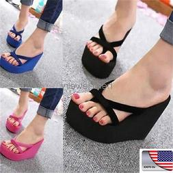 US STOCK Women's Flip Flops High Heels Wedge Slippers Platfo
