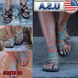 US Women Bohemian Flat Flip Flops Sandals Beachwear Bandage