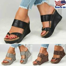 US Womens Sandals Wedge Shoes Platform Heels Thong Flip Flop