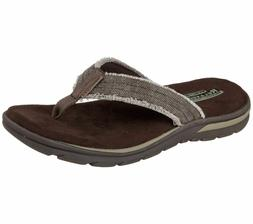 Skechers USA Men's Bosnia Flip Flop, Chocolate, 9 M US