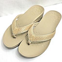 Vionic Wedge Sandals & Flip Flops Women Size 10 Cream Tan Be