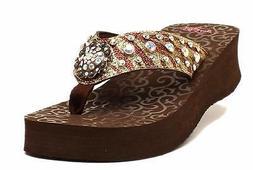 Blazin Roxx Western Womens Shoes BreAnn Glitter Zebra Flip F