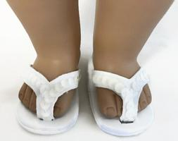 """White Sequined Flip Flops Sandal Shoes made for 18"""" American"""