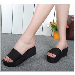 Woman Platform Slippers Wedge Summer Shoes Bath Beach Flip F