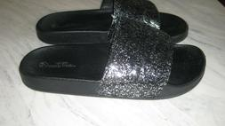 Womans Slides Black Glitter Charles Albert of New York Size