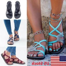 Women Bohemian Sandals Shoes Thong Flip Flops Flat T Strap S
