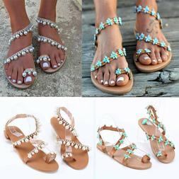 Women Boho Pearl Sandals Ladies Flat Sandal Flip Flops Beach