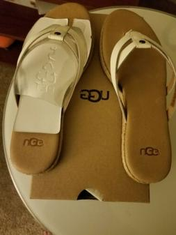 Women  brand new UGG flip flops size 5 color white  and tan